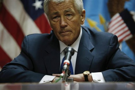 U.S. Secretary of Defense Chuck Hagel meets with the media following his meeting with Afghanistan's President Hamid Karzai in Kabul, March 1