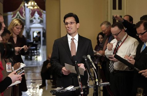 U.S. House of Representatives Majority Leader Eric Cantor (R-VA) speaks to the media on the Spending Reduction Act on Capitol Hill in Washin