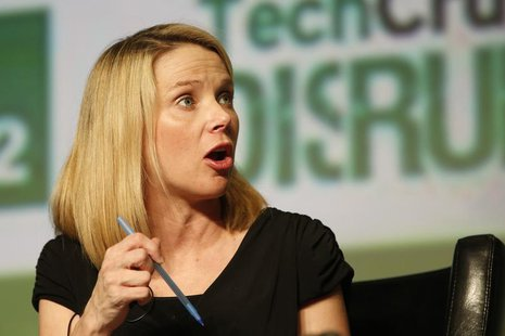 Yahoo! Chief Executive Marissa Mayer speaks during a Startup Battlefield session at TechCrunch Disrupt SF 2012 at the San Francisco Design C