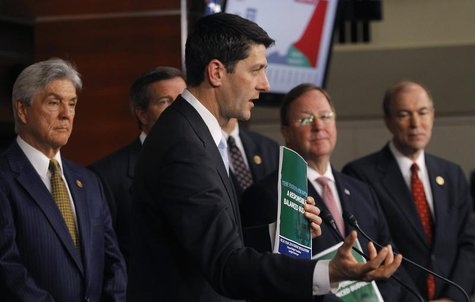 House Budget Committee Chairman Rep. Paul Ryan (R-WI) holds a news conference to unveil the House Republicans' FY2014 budget resolution in W