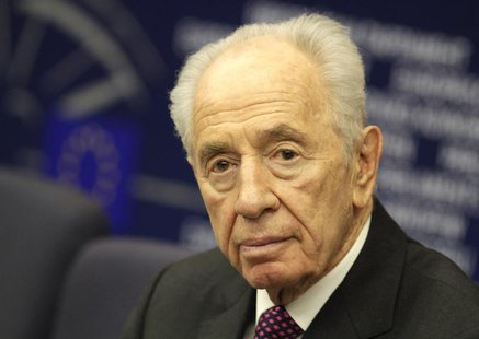 Israel's President Shimon Peres attends a press conference at the European Parliament in Strasbourg, March 12, 2013. REUTERS/Jean-Marc Loos