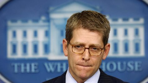 "White House press secretary Jay Carney speaks to reporters about the so-called ""sequester"" at the White House in Washington February 28, 201"