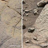 A set of images compares rocks seen by NASA's Opportunity rover and Curiosity rover at two different parts of Mars, in this NASA handout pho