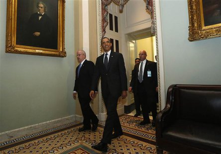 U.S. President Barack Obama departs the U.S. Capitol after meeting with Senate Democrats in Washington March 12, 2013. REUTERS/Kevin Lamarqu