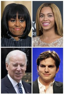 Michelle Obama, Beyonce, (top row, L-R), Joe Biden, and Ashton Kutcher (bottom row, L-R), are pictured in this file photo combination. REUTE