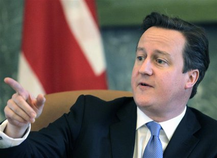 Britain's Prime Minister David Cameron gestures as he speaks during a news conference in Riga February 28, 2013. REUTERS/Ints Kalnins