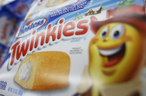 "A box of Hostess Brands ""Twinkies"" is on display, from what is believed to be the last shipment of Twinkies that Hostess brands will produce"