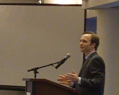 Lt. Gov. Brian Calley speaks before the Michigan West Coast Chamber of Commerce on Mar. 12, 2013.