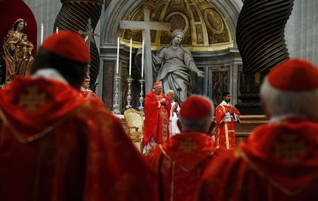 Cardinal Angelo Sodano leads mass in St. Peter's Basilica at the Vatican March 12, 2013. REUTERS/Stefano Rellandini
