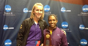 UW-Stevens Point Track & Field All-American Jasmine Haines (right).  The East Troy Junior and Biochemistry major also has a past state championship in the 4x400m relay.