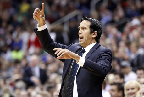 Miami Heat head coach Erik Spoelstra directs his team during the first half of their NBA basketball game against the Utah Jazz in Salt Lake
