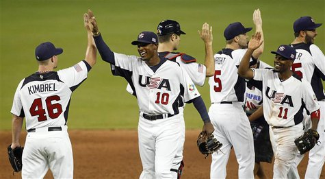 U.S. players Craig Kimbrel (L) and Adam Jones (10) high five as their team leaves the field after defeating Puerto Rico in their 2013 World