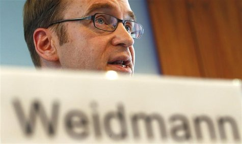 Jens Weidmann, President of Germany's federal reserve bank Bundesbank addresses the media during the bank's annual news conference in Frankf