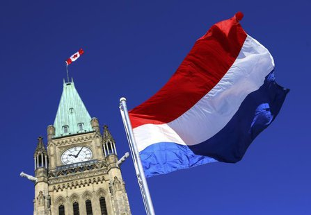 The flag of the Netherlands flies in front of the Peace Tower on Parliament Hill in Ottawa, January 18, 2013. REUTERS/Patrick Doyle