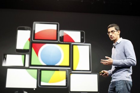 Sundar Pichai, senior vice president of Google Chrome, speaks during Google I/O Conference at Moscone Center in San Francisco, California Ju
