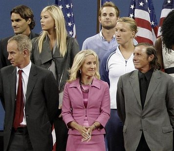 Former U.S. Open champion Tracy Austin (Bottom C) is seen with other champions during the Opening ceremony of the U.S. Open tennis tournamen