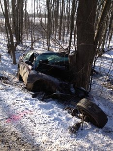 38-year-old Timothy Thurston's vehicle left the roadway and crashed into a tree in Columbia Township.
