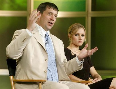 Actress Kristen Bell (R), star of The CW network's program 'Veronica Mars', and creator and executive producer of the series Rob Thomas take