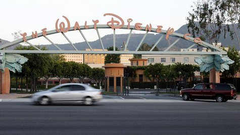 The signage at the main gate of The Walt Disney Co. is pictured in Burbank, California, May 7, 2012. Walt Disney Co's quarterly earnings bea