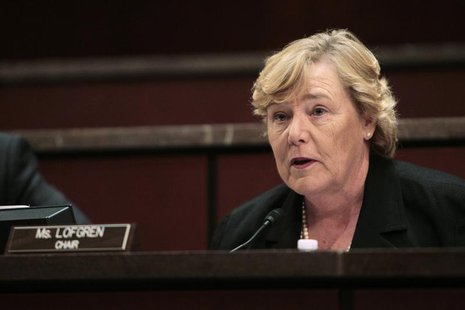 U.S. Representative Zoe Lofgren (D-CA), the chairman of the Committee on Standards of Official Conduct (The Ethics Committee) speaks during