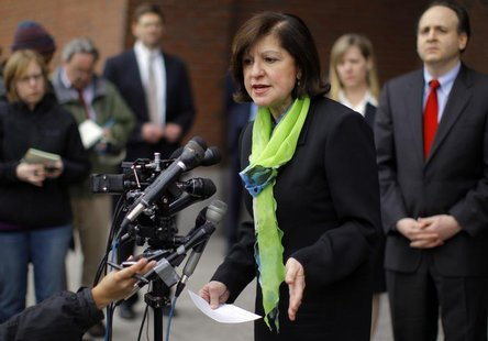 U.S. Attorney Carmen Ortiz speaks to reporters outside the federal courthouse after a hearing for Catherine Greig in Boston, Massachusetts M