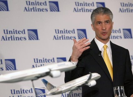 Jeff Smisek, Chairman, President and Chief Executive Officer of Continental speaks during a news conference announcing the merger between Co