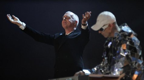 "Neil Tennant (L) and Chris Lowe of the British band Pet Shop Boys perform during the German game show ""Wetten Dass"" (Bet it...?) in Erfurt F"