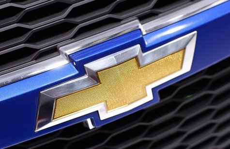 A Chevrolet logo is seen on a car displayed on the exhibition stand of Chevrolet during the first media day of the 80th Geneva Car Show at t