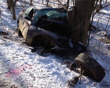 Timothy Thurston's vehicle after it left Baseline Road near 55th Street in Columbia Township on Mar. 14, 2013. (photo courtesy Van Buren County Sheriff's Dept.)