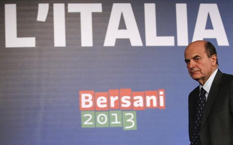 Italian PD (Democratic Party) leader Pier Luigi Bersani leaves at the end of a news conference in Rome February 26, 2013. REUTERS/Tony Genti