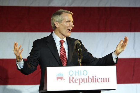 Sen. Rob Portman (R-OH) speaks to the crowd at Ohio Republican Sen. candidate Josh Mandel's election night rally in Columbus, Ohio, November
