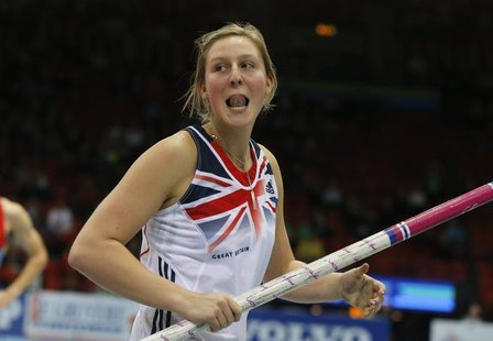 Holly Bleasdale of Britain reacts after competing in the Pole Vault Women Final at the European Athletics Indoor Championships in Gothenburg