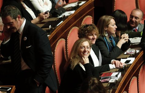 Newly elected senators of the 5-Star Movement attend a debate at the Senate in Rome March 15, 2013. REUTERS/Remo Casilli