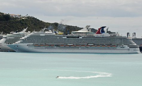 A view of the Carnival Dream cruise ship moored at the A.C. Wathey Cruise Facilities after a diesel generator malfunctioned causing temporar