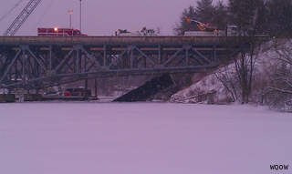 Two men were killed after semi truck plunges into Red Cedar River near Menomonie on March 12, 2013. (courtesy of FOX 11).