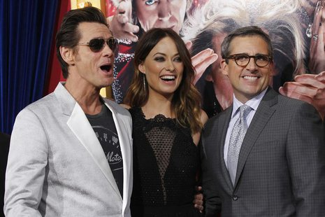 "Cast members Jim Carrey (L), Olivia Wilde and Steve Carell pose at the premiere of ""The Incredible Burt Wonderstone"" in Hollywood, Californi"