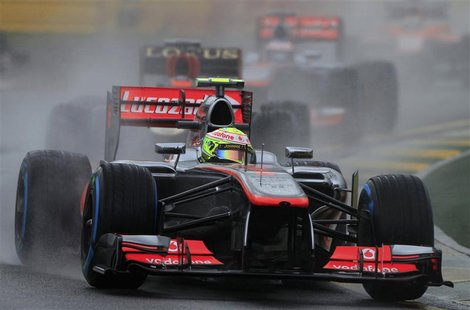 McLaren Formula One driver Sergio Perez of Mexico drives during the qualifying session of the Australian F1 Grand Prix at the Albert Park ci