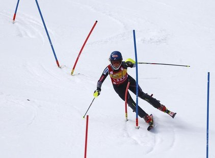 Mikaela Shiffrin from the U.S. clears a gate during her second run in the women's Alpine Skiing World Cup slalom race in Ofterschwang March