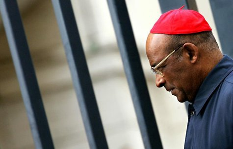 Cardinal Wilfrid Fox Napier of South Africa leaves the Vatican after the general congregation meeting April 12, 2005. Reuters Photographer