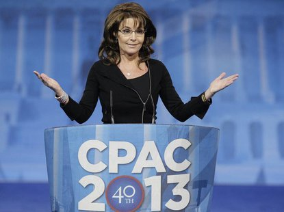 Former Alaska Governor Sarah Palin (R-AK) addresses the Conservative Political Action Conference (CPAC) in National Harbor, Maryland, March