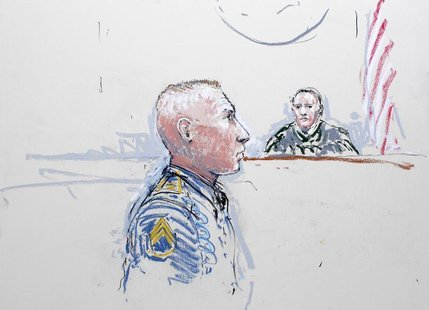 Army Staff Sergeant Robert Bales (L) and Judge Col. Jeffery R. Nance is seen in a courtroom sketch as he is arraigned on 16 counts of premed