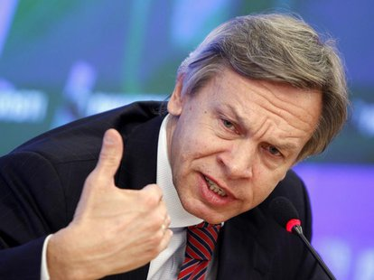 Alexei Pushkov, Chairman of the Russian State Duma Committee on International Affairs, attends a news conference in Moscow, March 27, 2012.