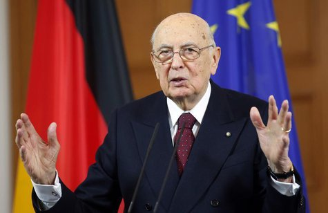 Italy's President Giorgio Napolitano gestures during a news conference following talks with German counterpart Joachim Gauck in Berlin Febru