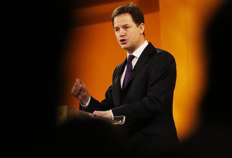 Britain's Deputy Prime Minister and leader of the Liberal Democrats, Nick Clegg, delivers his keynote speech at the party's spring conferenc