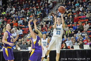 Notre Dame's Allie LeClaire puts up a shot against New Berlin Eisenhower during their Division 2 state title game at the Resch Center on Saturday. (courtesy of FOX 11).