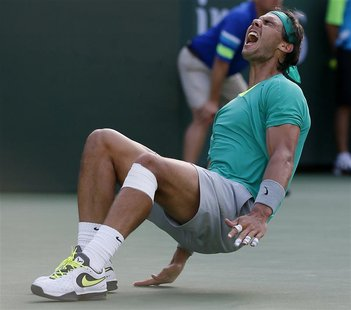 Rafael Nadal of Spain celebrates defeating Juan Martin Del Potro of Argentina in the men's singles final match to win the BNP Paribas Open A