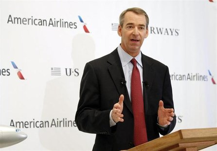 American Airlines Chairman, President and CEO Tom Horton announces the planned merger of AMR Corp, the parent of American Airlines, with U.S