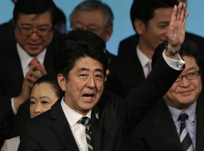 Japan's Prime Minister Shinzo Abe waves during the ruling Liberal Democratic Party (LDP) annual convention in Tokyo March 17, 2013. REUTERS/