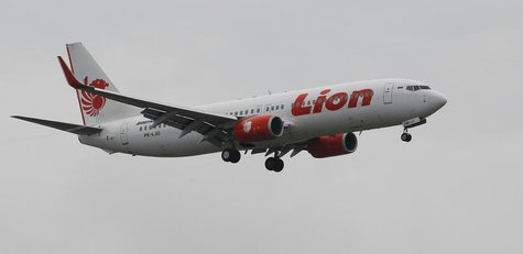 A Lion air plane prepares to land at the Sukarno-Hatta airport in Tangerang on the outskirts of Jakarta January 30, 2013. REUTERS/Enny Nurah