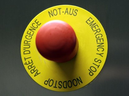 An emergency stop button is pictured in the P3 level research laboratory against tuberculosis at the School of Life Sciences of the Swiss Fe